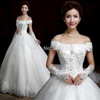 2015 wedding formal dress slit neckline plus size wedding dress fashion wedding dress can custom-made 1m/1.5m/2m/2.5m/3m train