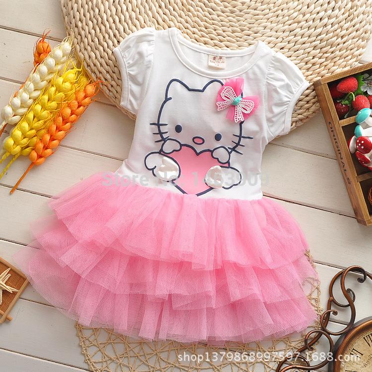 2015 New Girls Dress Cartoon Hello Kitty Tutu Dress Bow Veil Kids Clothes Lovely Dress Children's Cothing Vestidos De Menina(China (Mainland))