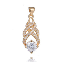 New Arrivals 1PC 18K Gold Filled Womens Full Zircon Gorgeous Noble CZ Pendant Free shipping
