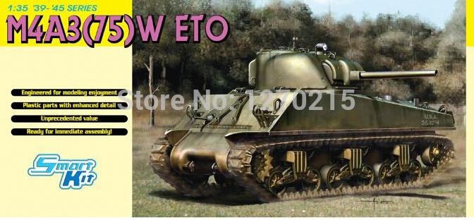 Dragon 6698 1/35 WWII M4A3 Shaman Tank 75mm gun turret plastic model kit(China (Mainland))