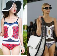 Fashion Brand National Print One Piece Swimsuit Vintage Push Up Swimwear Women Plus Size Bathing Suit 2015 New Beach Monokini