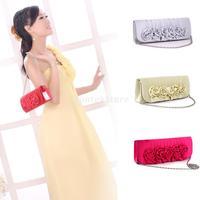 New 2015 Brand New Women Handbag Shoulder Clutch Bag Satin Rose Flower Evening Party Free Shipping