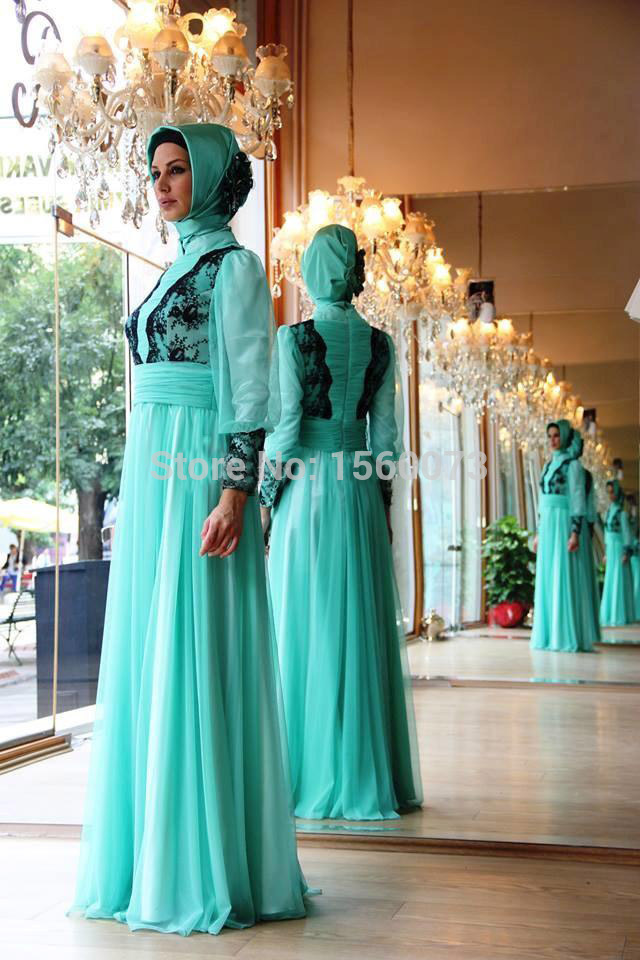 High Neckline Long Sleeves Flowing Green Chiffon Lace Top Islamic Evening Dress With Hijab(China (Mainland))
