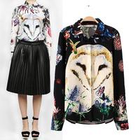 Blusas Femininas 2015 Vintage Owl Print Women Blouses Turn Down Collar Long Sleeve Slim Retro Ladies' Shirts Casual Brand Tops