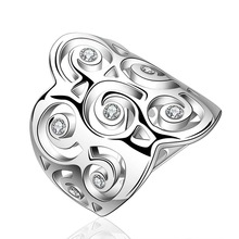NEW Arrivel 2014 USA EURO Style Fashion Silver plated rose crstal Bulgary Ring Wholesale Jewelry SMTR576