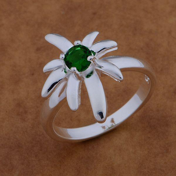 AR533 Hot 925 sterling silver ring, 925 silver fashion jewelry, coconut tree inlaid green stone /awvajoca axpajowa(China (Mainland))