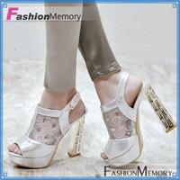 2015 Women's Lace Cutout Breathable Dress Sandals Fashionable Sexy High Heels Summer Shoes  Wedding Open toe Platform Sandals