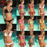 2015 Neoprene Triangle Bikini Set Mesh Neon Color Women Swimsuit Brazilian biquini Swimwear Bathing Suits Free SIZE