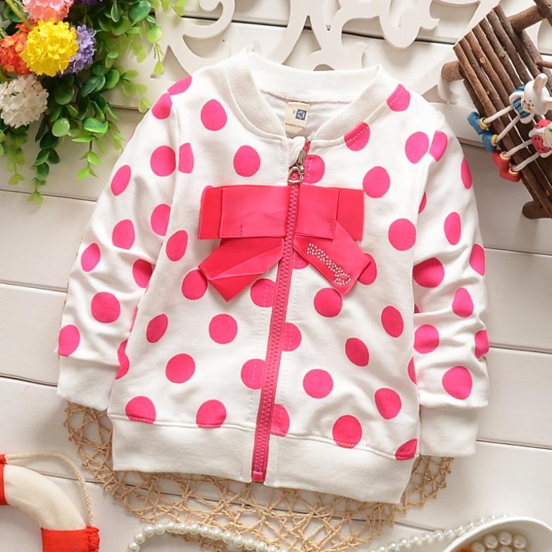 children clothing fashion cardigan zipper bow dot baby girls jackets kids casual spring autumn coats outerwear overcoat(China (Mainland))