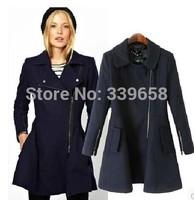 European leg of European and American women's new winter Slim thin diagonal zipper in the long-haired coat it