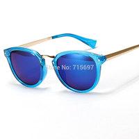 2015 Newest Fashion Men/women Brand Design Round Frame Sunglasses Sports Eyewear Refletive Mirror 6 Colors Drop shipping
