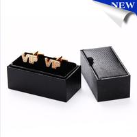 New Design Black Leather Cufflinks Box Gift Jewelry Cuff Box