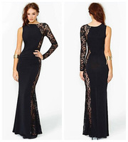 new fashion spring summer lace black sexy plus size women vestidos femininos casual bodycon long dress party dresses 2015