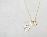 Free Shipping 10pcs/lot-2015 Gold/Silver Minimalist Jewelry Vitnage Geometric Double Circles Pendant Necklace