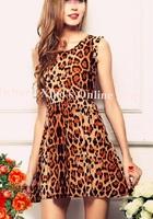 2015 Hot Sexy Women Dress Crew Neck Leopard Print Party Tunic Skater Swing Mini Dresses