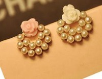 OMH wholesale 6pair off 33% = $0.53/pair Fashion Girl Lovely Pearl Rose Stud Earrings EH277