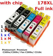 5 ink hp178XL 178 XL compatible ink cartridge For HP Photosmart  Premium C309a/C309c/ Fax C309a/ C310c printers full ink