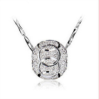 Wholesale 925 Sterling Silver Round Pendant Necklace Fashion Lucky Bead Charms Bangles Necklace Jewelry Findings