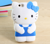 10 pcs Wholesale 3D Soft Cute Dots Cartoon Hello Kitty Bow  Silicone Soft Case Back Cover For iPhone 6 plus 5.5 4.7 inch
