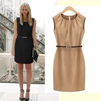 2015 Women's European Fashion Brand Women Work Office Dresses OL commuter Temperament Slim Sleeveless Dress WITH BELT