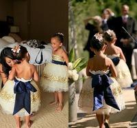 Bling Bling Golden Sequined Ball Gown Flower Girl Dresses For Wedding Sleeveless Knee Length With Ribbons Backless Flower Girl