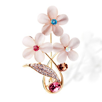 pins vintage brooch pin up brooches broche five leaves and flowers crystal flower brooch