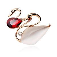 New 2015 rhinestone brooch fashion crystal swan brooch mandarin ducks pins crystal brooches