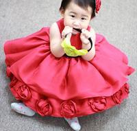 Hot Sale!Sleeveless Girls Party Tutu Elegant Flowers Evening Princess Dresses Top Quality Free Shipping