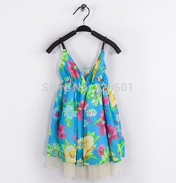 Summer girl summer dress. Sleeveless sling design girl dresses. Girl costume printing design. Wholesale sales: 6 (5-15)/package!(China (Mainland))
