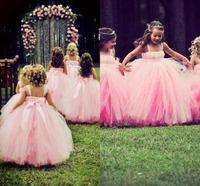 Pink Flower Girl Dresses For Wedding Scoop Sleeveless Ball Gown Floor Length Withe Ribbons Organza Flower Girl Dress