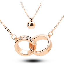 18K Gold Plated Rhinestone Crystal Double Circle Necklaces & Pendants Wholesales Fashion Jewelry for women Y5127