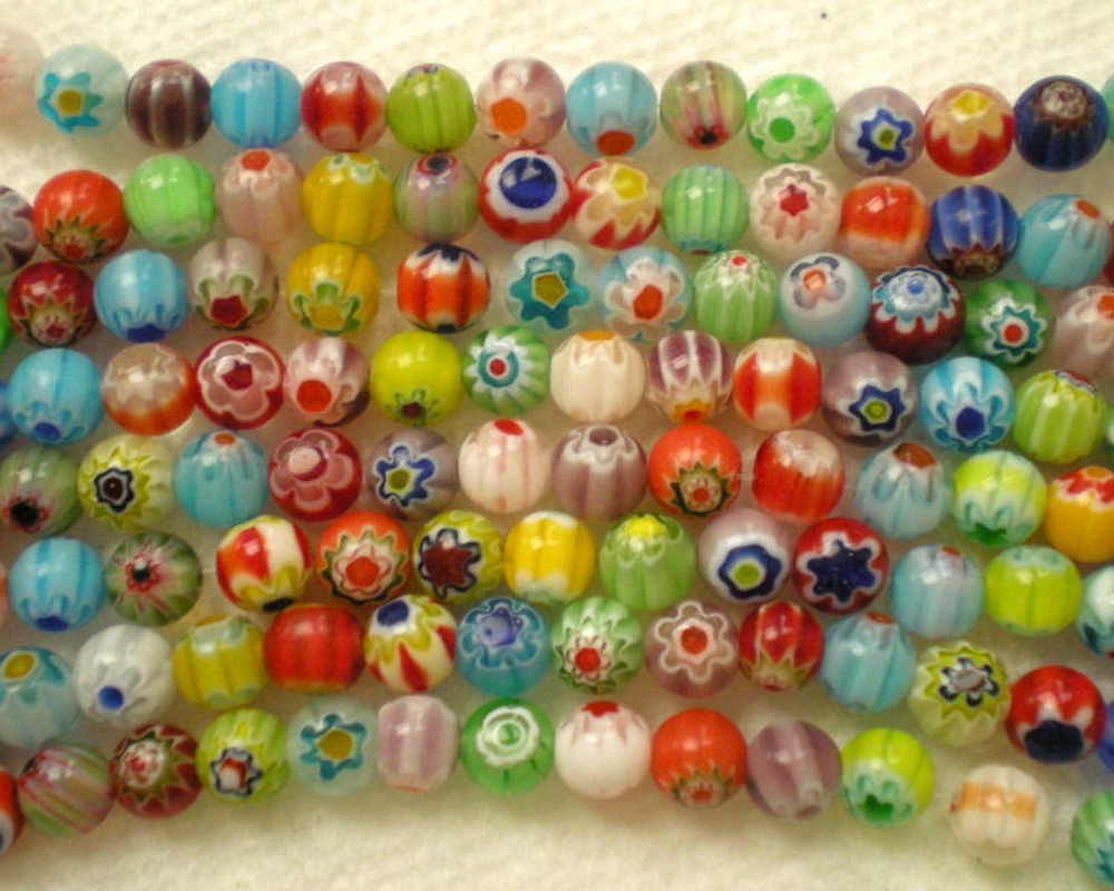 Beautiful Bead 65pcs Mix Millefiori Flower Lampwork Glass Round Beads 6mm