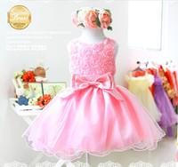 Best Selling,Sweet Flowers Top Pink Party Dress Circular Tutu Girls Elegant Princess Evening Dress Free Shipping
