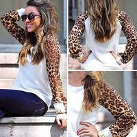 Fashion women's  loose long-sleeve leopard print chiffon top t-shirt