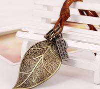 Hot Sale Vintage  Long Leaf Leather Necklaces   for women and Men