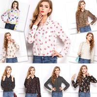 New Fashion Hot Sale Women Summer Casual Tops Blouse Lip Print Polka Dots Loepard Lady Long Sleeve Chiffion Shirt Plus Sizes