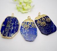 4pcs Wholesale Good Quality Jewelry Fashion Natural Stone Quartz Lapis gem stone Pendant Mix style(buyer can choose style)