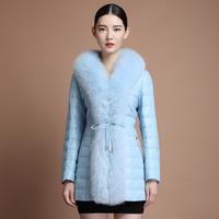free shipping EMS 2014 fox fur sheepskin medium-long genuine leather down coat leather clothing female bl8080