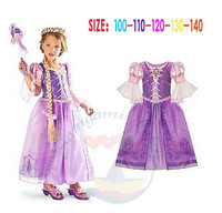 1pcs new Sofa baby girls Princess Dresses for Girl Dresses Brand cartoon clothes dress,long sleeve,purple,Spring wear