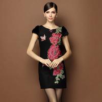 women new 2015 spring flowers embroidery vintage black woolen thick plus size xl xxl xxxl 3xl pullovers bodycon winter dress