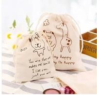 Original handmade zakka cotton cloth drawstring gift pouch Drawstring Bear deer