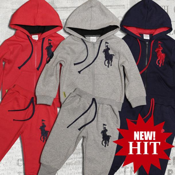 Freeshipping hot sale 2pcs set kids baby polo suit boys girls long
