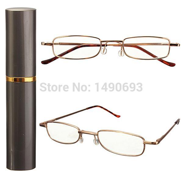 Portable Folding Aluminum Metal Frame Reading Glasses Pen Tube Gray Carry Case +1 +1.5 +2 +2.5 +3 +3.5 Free Shipping(China (Mainland))