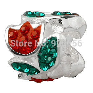 Free Shipping 1pcs/lot 925 sterling silver tulip red flowers set auger charm beads fit Pandora Style Bracelets jewelry(China (Mainland))
