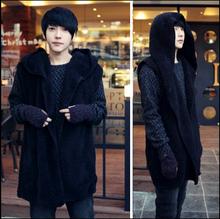 2015 Harajuku New Fashion Long Fannel Velvet Mens Vests Men Clothing Sleeveless Winter Hooded Vest Jacket Men Waistcoat Black(China (Mainland))