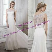 New Arrival 2015 New Fashionable Elegant A Line Cap Sleeve Chiffon Long Dress Beading Sheer Back Train Beach Wedding Dress