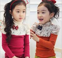 Retail Children T-shirt Girl Kids 2015 Spring Autumn Long Sleeve Bow Lcae Shirt Children's T-shirt AB660