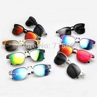 2015 New fashion brand design men's aluminum magnesium sunglasses polarized clubmater sunglasses 9 colors reflective mirror
