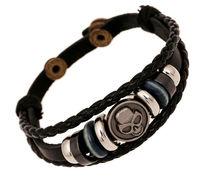 BA179 Wholesale Handmade Genuine Braided Leather Skull Charm Adjustable Bracelet  Jewelry Bijouterie Unisex For Men Woman Gift