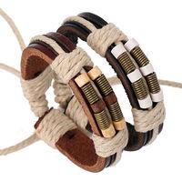 BA177 Wholesale Handmade Genuine Leather Adjustable Bracelet Wristband Jewelry Bijouterie Unisex For Men Girls Woman Gift